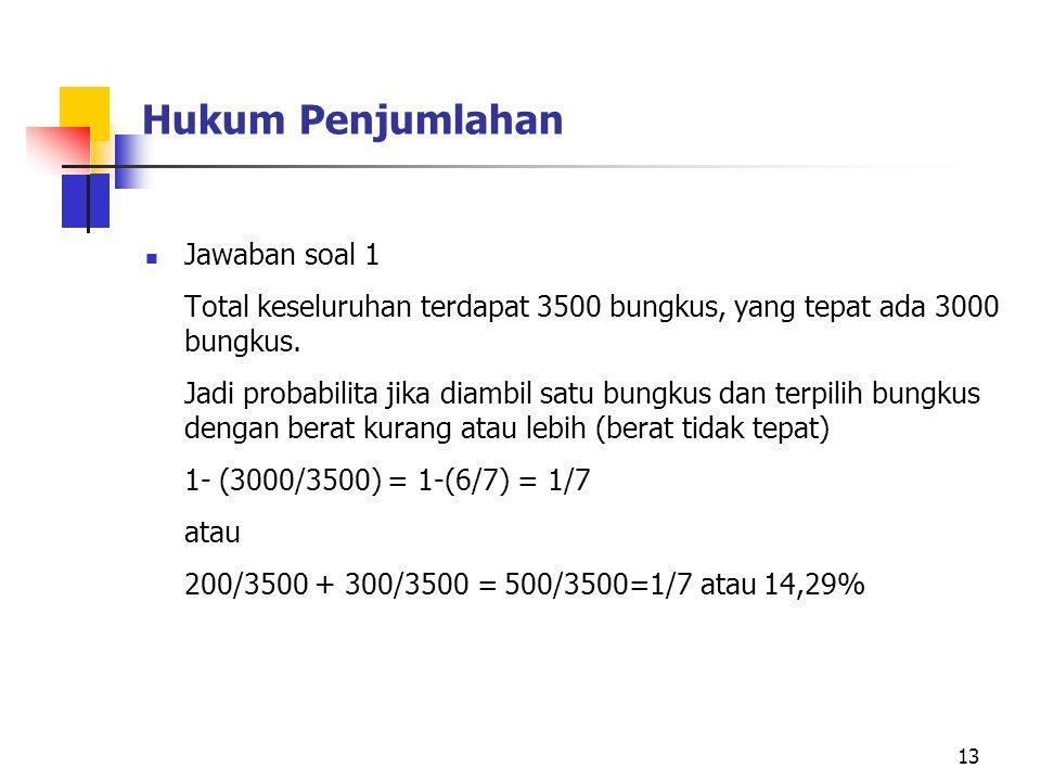 Hukum Penjumlahan Jawaban soal 1 Total keseluruhan terdapat 3500 bungkus, yang tepat ada 3000 bungkus. Jadi probabilita jika diambil satu bungkus dan