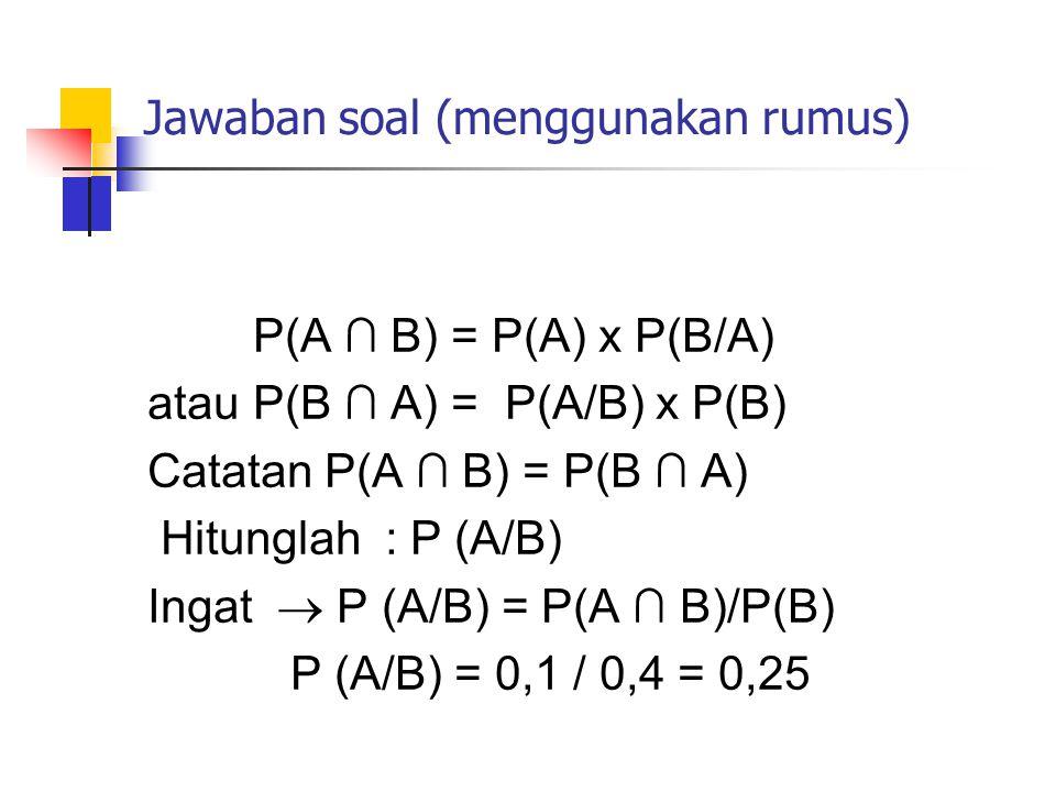 Jawaban soal (menggunakan rumus) P(A ∩ B) = P(A) x P(B/A) atau P(B ∩ A) = P(A/B) x P(B) Catatan P(A ∩ B) = P(B ∩ A) Hitunglah : P (A/B) Ingat  P (A/B