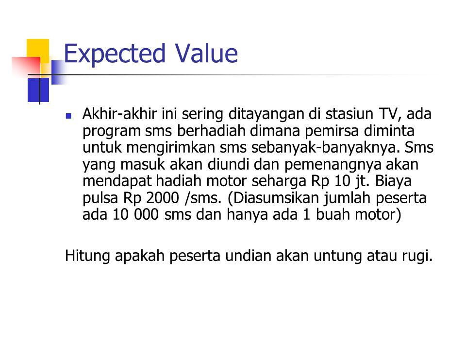 Expected Value Akhir-akhir ini sering ditayangan di stasiun TV, ada program sms berhadiah dimana pemirsa diminta untuk mengirimkan sms sebanyak-banyak