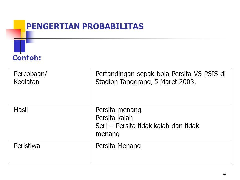 4 PENGERTIAN PROBABILITAS Percobaan/ Kegiatan Pertandingan sepak bola Persita VS PSIS di Stadion Tangerang, 5 Maret 2003. HasilPersita menang Persita