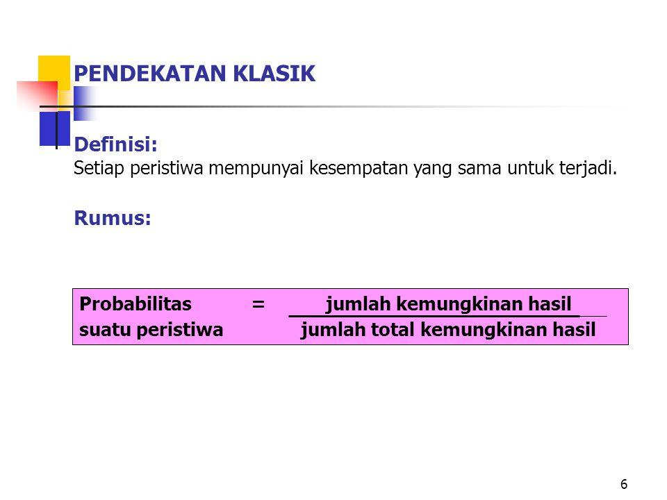 Hukum Perkalian Probabilitas Peristiwa Bebas (Independent Probability) P(A ∩ B) = P(A) x P(B) Contoh : Pada pelemparan 2 kali sebuah dadu : Berapa Probabilitas munculnya muka 6 pada lemparan I dan ke II .