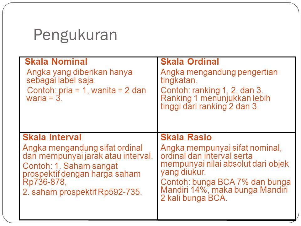 Pengukuran 12 Skala Rasio Angka mempunyai sifat nominal, ordinal dan interval serta mempunyai nilai absolut dari objek yang diukur. Contoh: bunga BCA