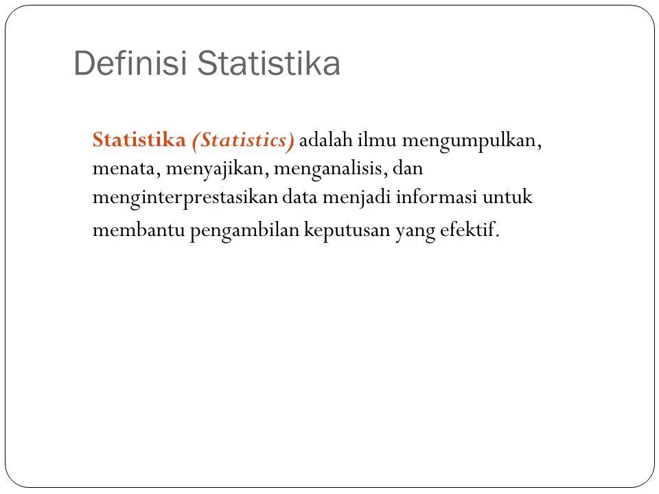 Definisi Statistika 2 Statistika (Statistics) adalah ilmu mengumpulkan, menata, menyajikan, menganalisis, dan menginterprestasikan data menjadi informasi untuk membantu pengambilan keputusan yang efektif.