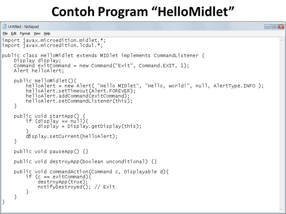 Contoh Program HelloMidlet