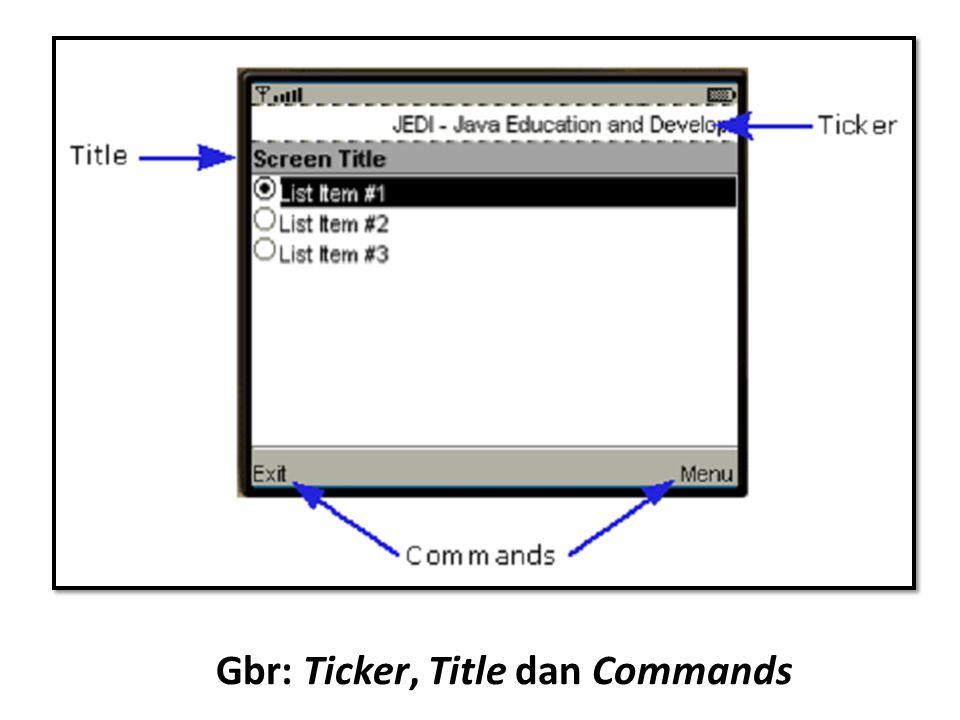 Gbr: Ticker, Title dan Commands