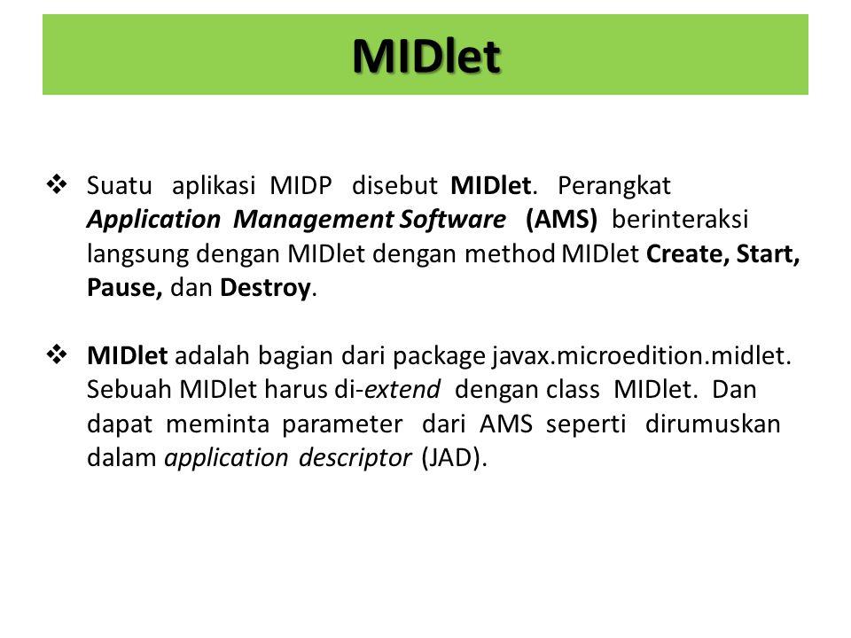MIDlet  Suatu aplikasi MIDP disebut MIDlet.