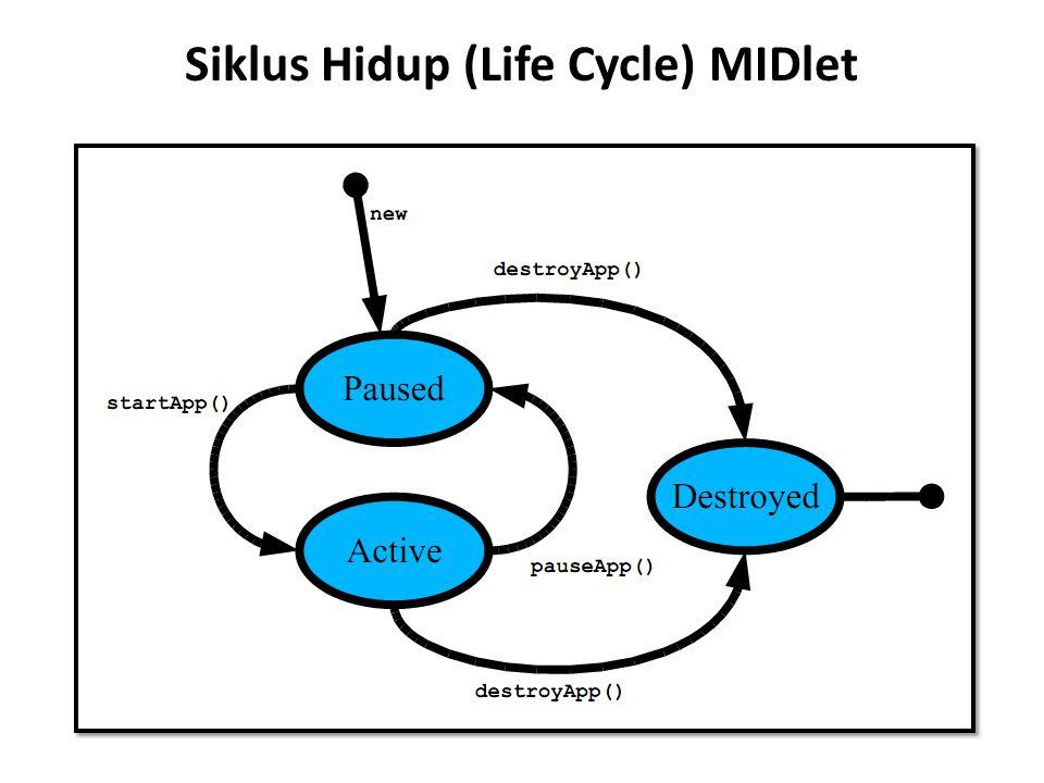 Siklus MIDlet Cont … MIDlet pada awalnya masuk status Pause setelah perintah baru dibuat.
