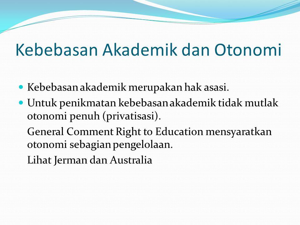 Kebebasan Akademik dan Otonomi Kebebasan akademik merupakan hak asasi. Untuk penikmatan kebebasan akademik tidak mutlak otonomi penuh (privatisasi). G