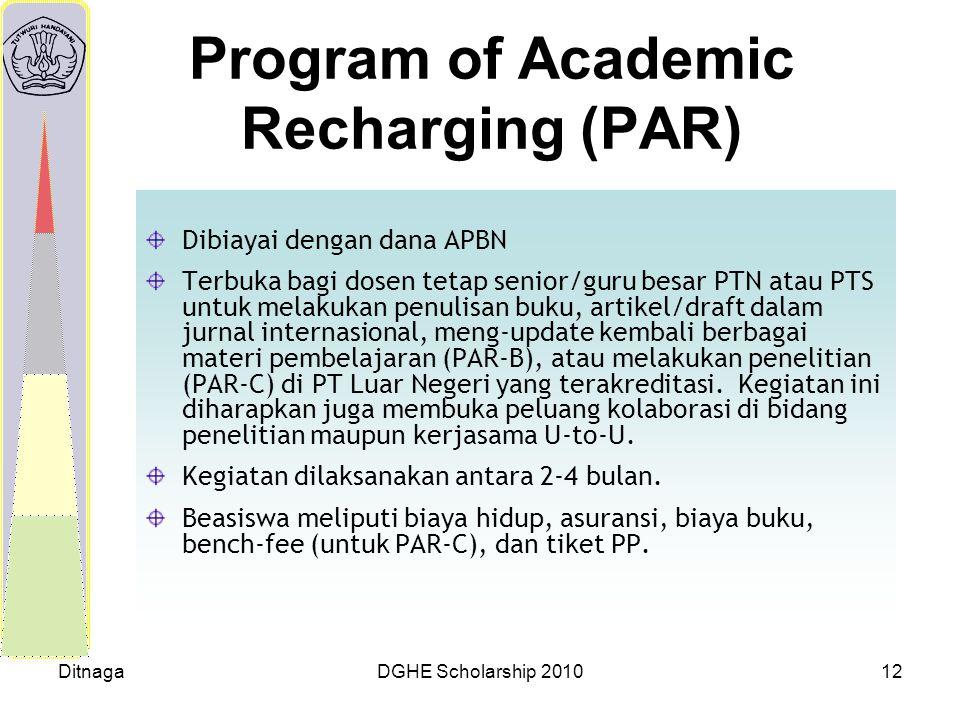 DitnagaDGHE Scholarship 201012 Program of Academic Recharging (PAR) Dibiayai dengan dana APBN Terbuka bagi dosen tetap senior/guru besar PTN atau PTS