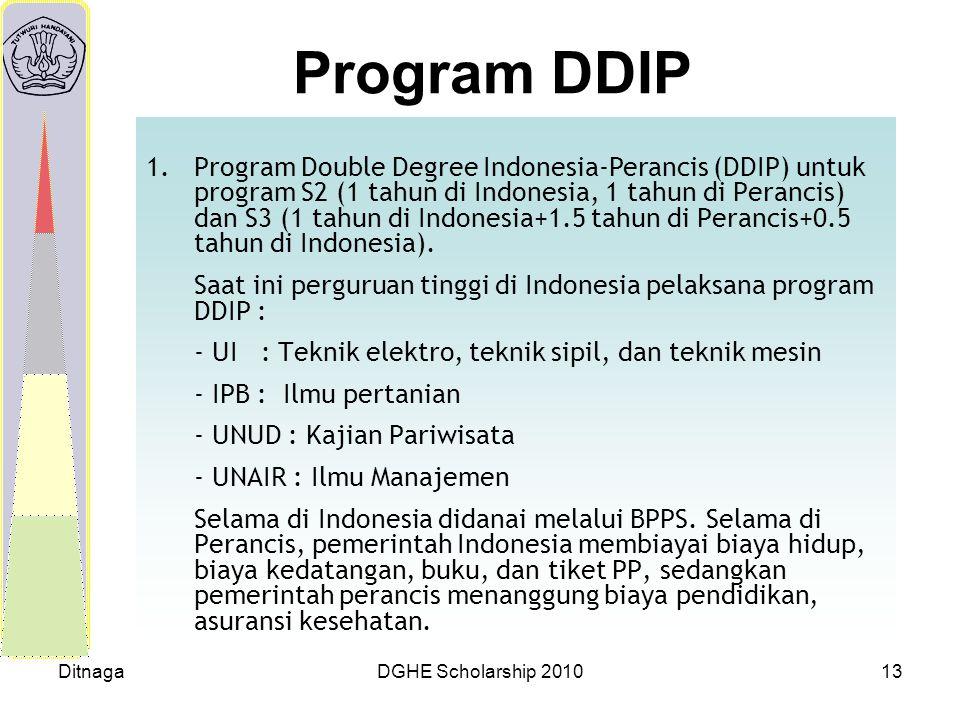 DitnagaDGHE Scholarship 201013 Program DDIP 1.Program Double Degree Indonesia-Perancis (DDIP) untuk program S2 (1 tahun di Indonesia, 1 tahun di Peran