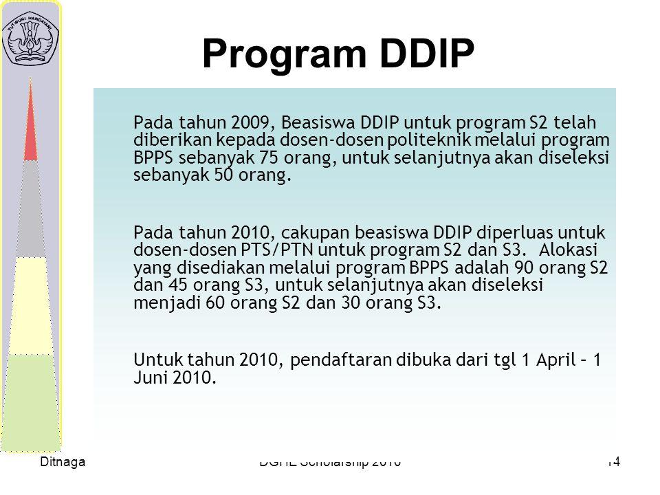 DitnagaDGHE Scholarship 201014 Program DDIP Pada tahun 2009, Beasiswa DDIP untuk program S2 telah diberikan kepada dosen-dosen politeknik melalui prog