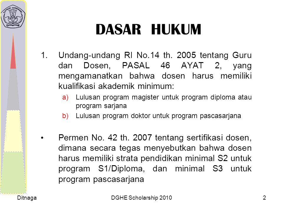DitnagaDGHE Scholarship 20102 DASAR HUKUM 1.Undang-undang RI No.14 th. 2005 tentang Guru dan Dosen, PASAL 46 AYAT 2, yang mengamanatkan bahwa dosen ha