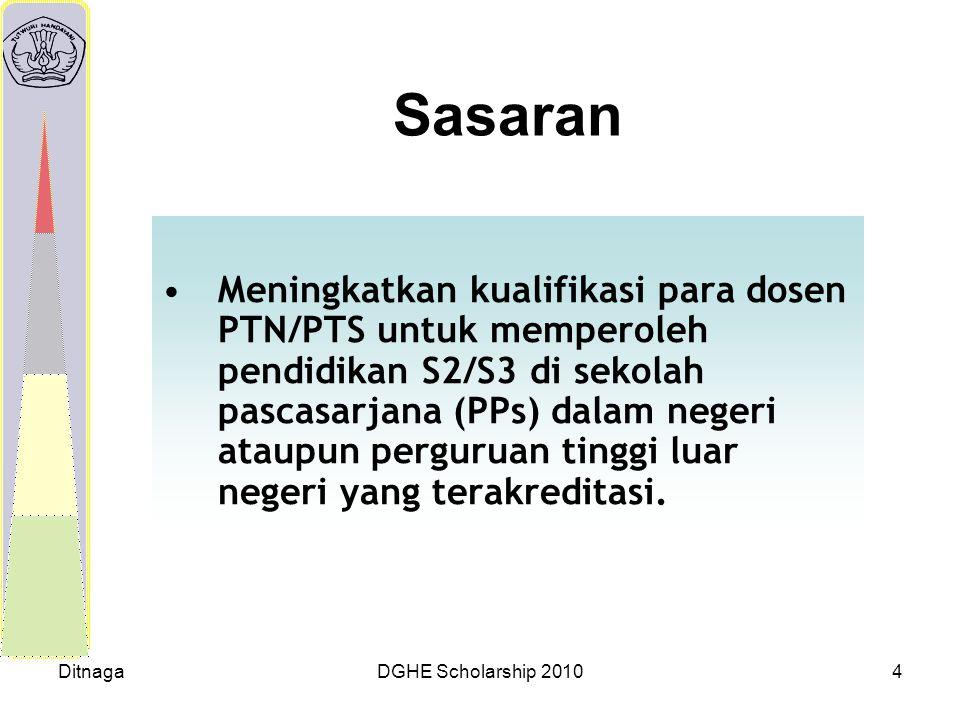 DitnagaDGHE Scholarship 20104 Sasaran Meningkatkan kualifikasi para dosen PTN/PTS untuk memperoleh pendidikan S2/S3 di sekolah pascasarjana (PPs) dala