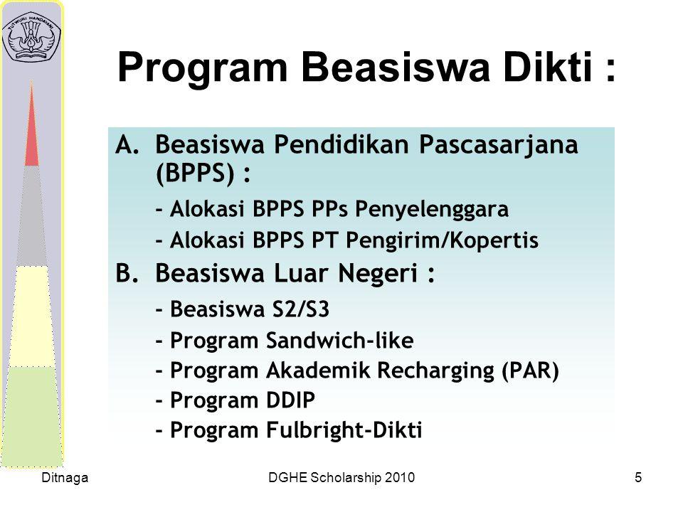 DitnagaDGHE Scholarship 20105 Program Beasiswa Dikti : A.Beasiswa Pendidikan Pascasarjana (BPPS) : - Alokasi BPPS PPs Penyelenggara - Alokasi BPPS PT