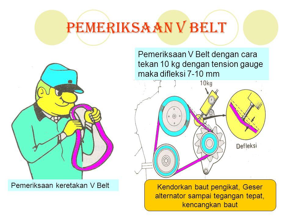 Pemeriksaan V Belt Pemeriksaan V Belt dengan cara tekan 10 kg dengan tension gauge maka difleksi 7-10 mm Kendorkan baut pengikat, Geser alternator sam