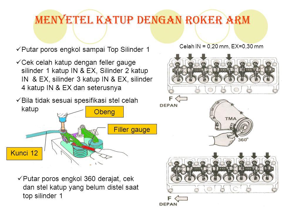 Menyetel Katup Dengan Roker Arm Putar poros engkol sampai Top Silinder 1 Cek celah katup dengan feller gauge silinder 1 katup IN & EX, Silinder 2 katu