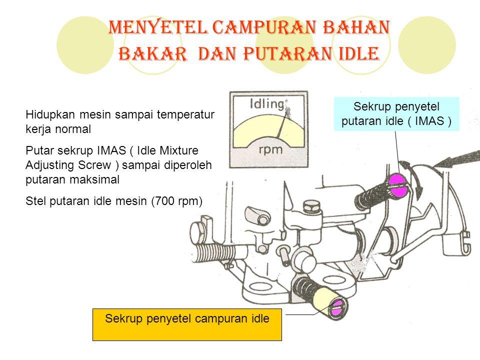 Menyetel Campuran Bahan Bakar dan Putaran Idle Hidupkan mesin sampai temperatur kerja normal Putar sekrup IMAS ( Idle Mixture Adjusting Screw ) sampai
