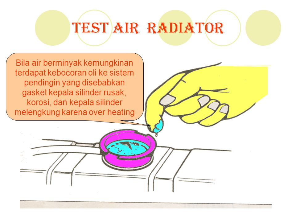 Test Air Radiator Bila air berminyak kemungkinan terdapat kebocoran oli ke sistem pendingin yang disebabkan gasket kepala silinder rusak, korosi, dan