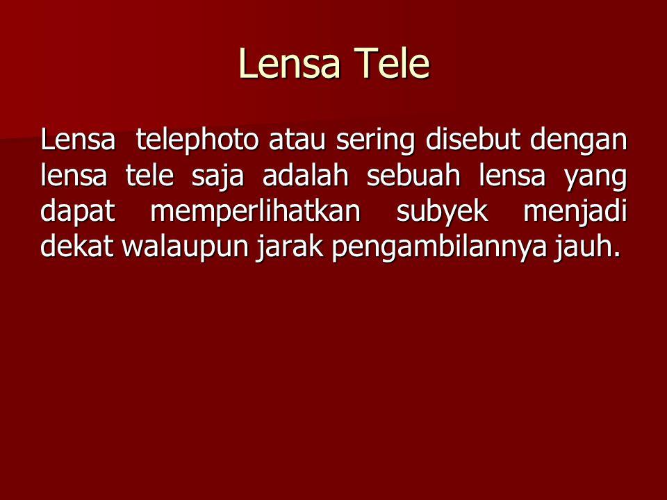 Lensa Tele Lensa telephoto atau sering disebut dengan lensa tele saja adalah sebuah lensa yang dapat memperlihatkan subyek menjadi dekat walaupun jara