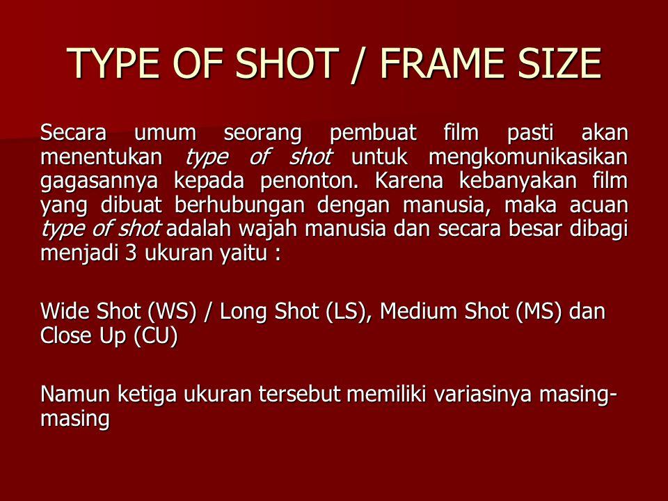 TYPE OF SHOT / FRAME SIZE Secara umum seorang pembuat film pasti akan menentukan type of shot untuk mengkomunikasikan gagasannya kepada penonton. Kare