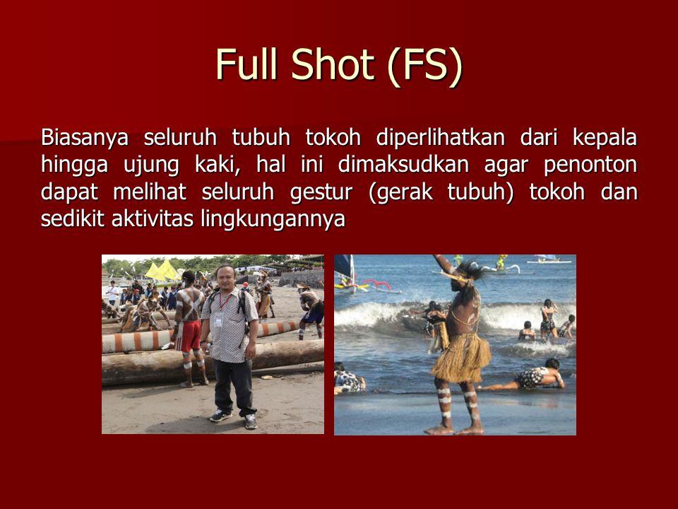 Full Shot (FS) Biasanya seluruh tubuh tokoh diperlihatkan dari kepala hingga ujung kaki, hal ini dimaksudkan agar penonton dapat melihat seluruh gestu