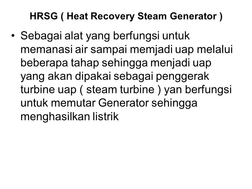 HRSG ( Heat Recovery Steam Generator ) Sebagai alat yang berfungsi untuk memanasi air sampai memjadi uap melalui beberapa tahap sehingga menjadi uap y