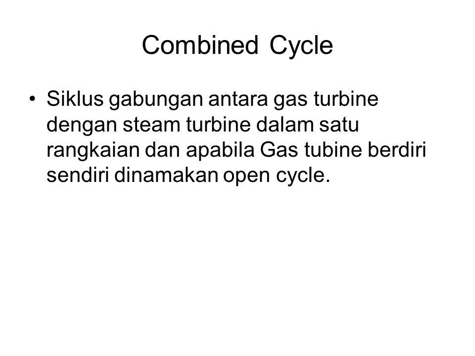 Combined Cycle Siklus gabungan antara gas turbine dengan steam turbine dalam satu rangkaian dan apabila Gas tubine berdiri sendiri dinamakan open cycl