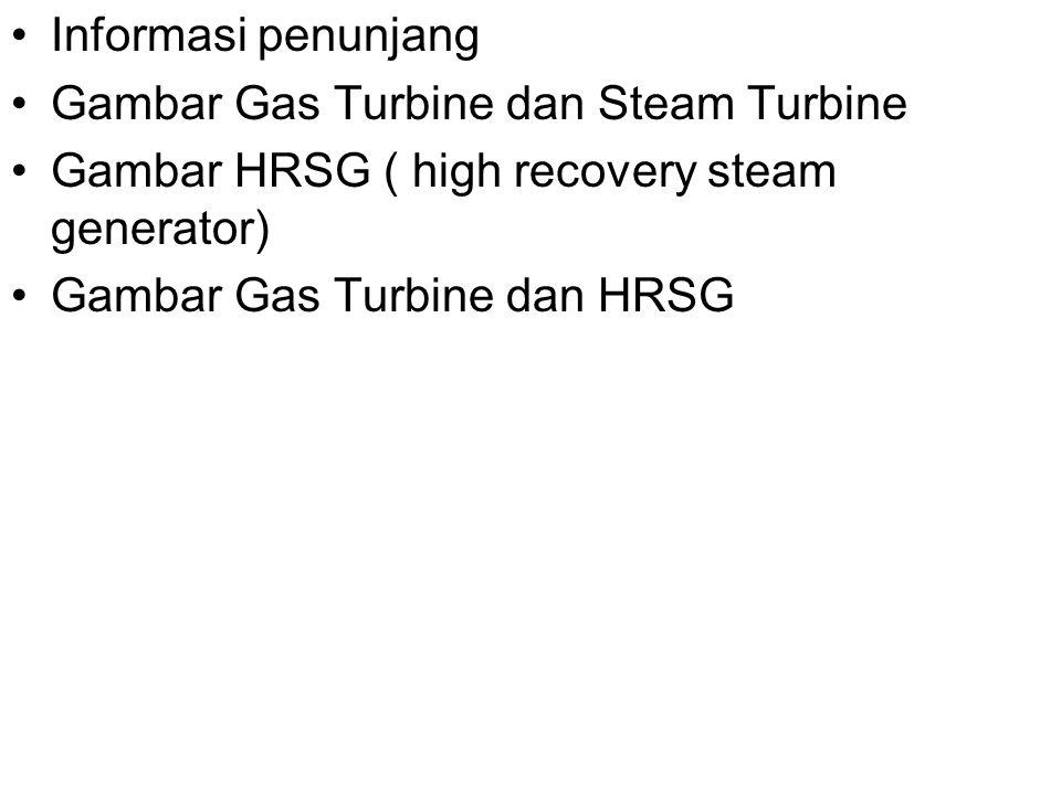 Informasi penunjang Gambar Gas Turbine dan Steam Turbine Gambar HRSG ( high recovery steam generator) Gambar Gas Turbine dan HRSG