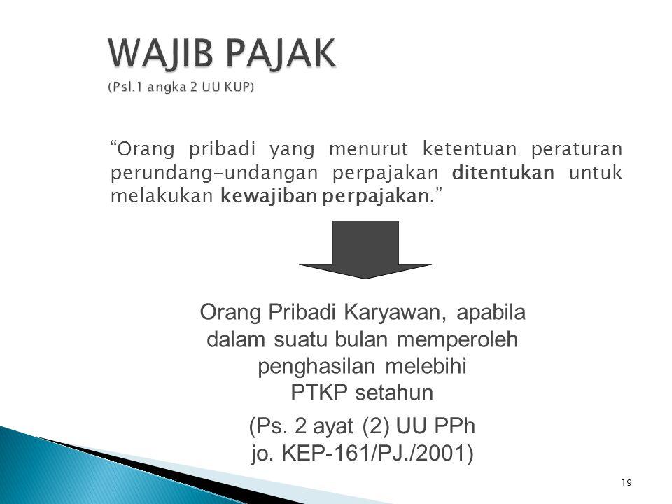 Orang pribadi yang menurut ketentuan peraturan perundang-undangan perpajakan ditentukan untuk melakukan kewajiban perpajakan. (Pasal 1 Angka 2 UU KUP)