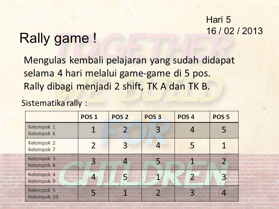 Rally game ! Hari 5 16 / 02 / 2013 Mengulas kembali pelajaran yang sudah didapat selama 4 hari melalui game-game di 5 pos. Rally dibagi menjadi 2 shif