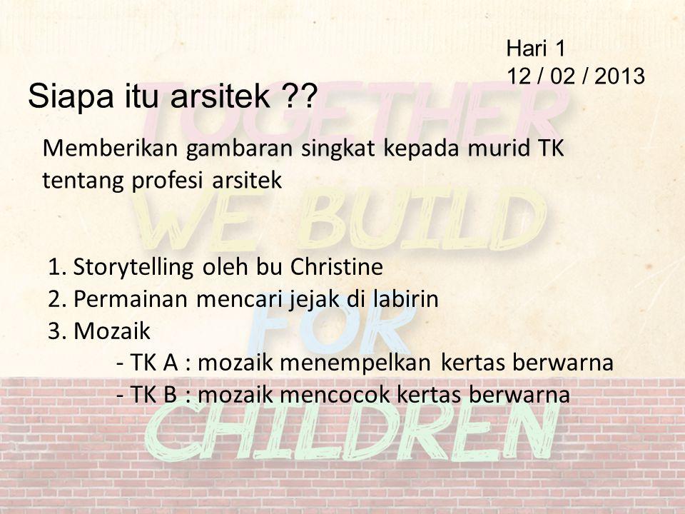 Hari 1 12 / 02 / 2013 Siapa itu arsitek ?? Memberikan gambaran singkat kepada murid TK tentang profesi arsitek 1.Storytelling oleh bu Christine 2.Perm