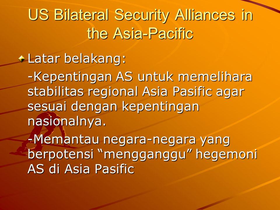 US Bilateral Security Alliances in the Asia-Pacific Latar belakang: -Kepentingan AS untuk memelihara stabilitas regional Asia Pasific agar sesuai dengan kepentingan nasionalnya.