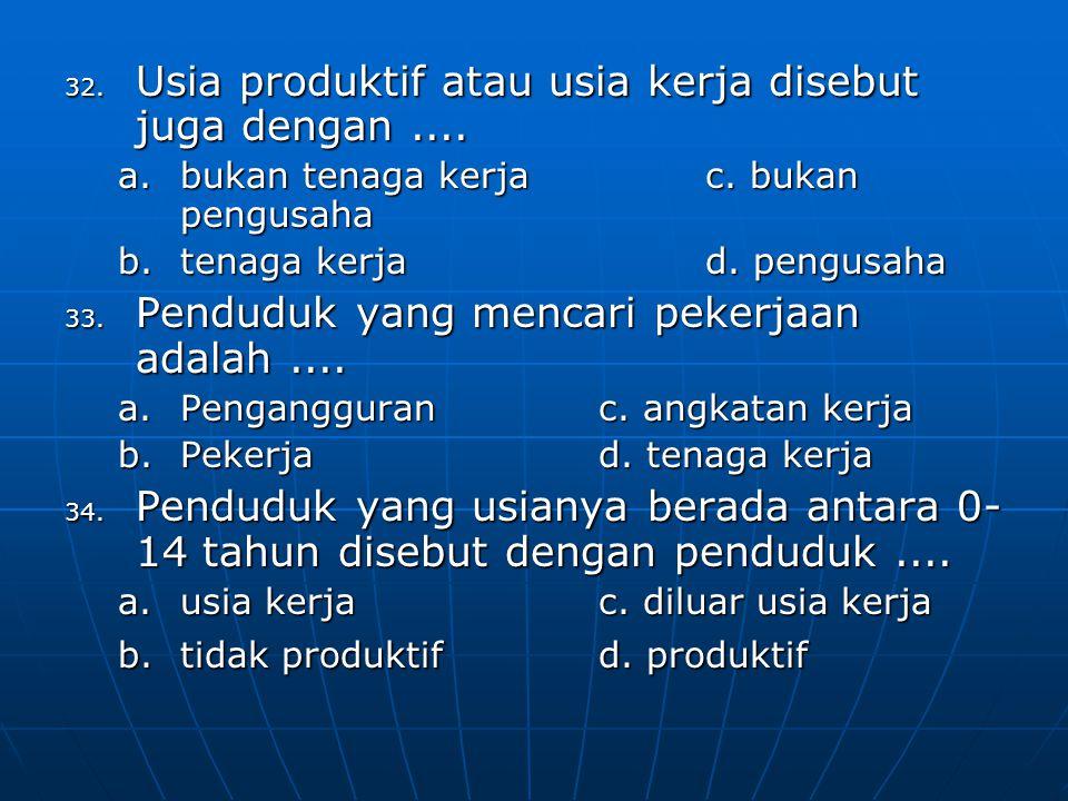 35.Pernyataan di bawah ini yang bukan merupakan masalah ketenagakerjaan adalah....