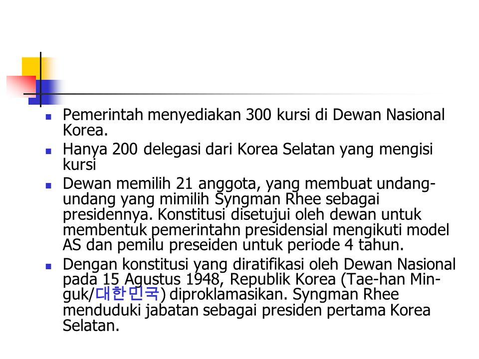 Pemerintah menyediakan 300 kursi di Dewan Nasional Korea.