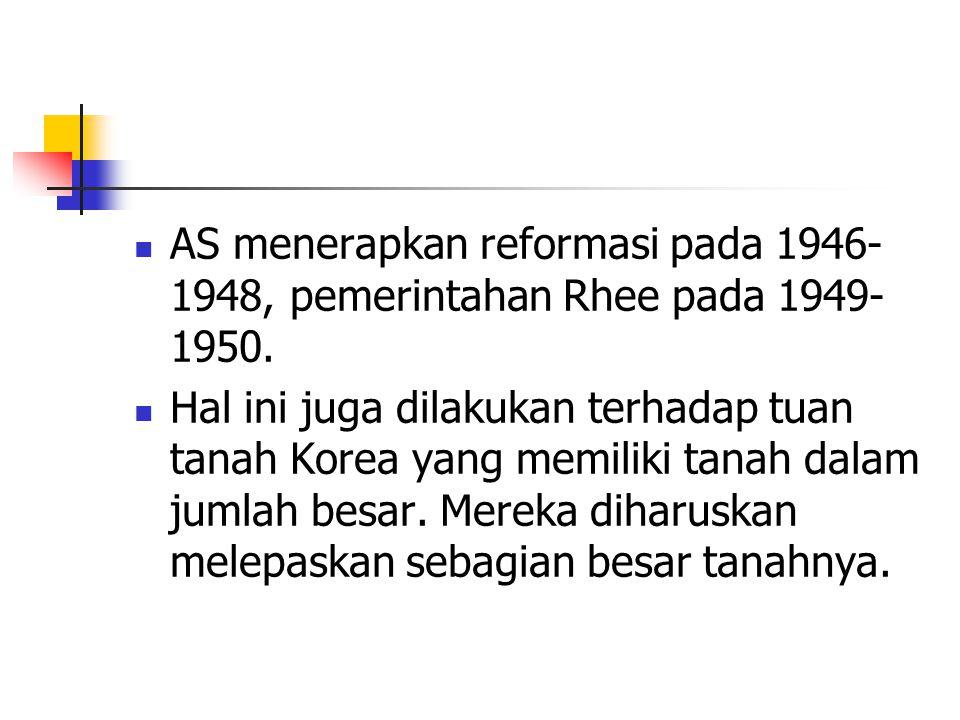 AS menerapkan reformasi pada 1946- 1948, pemerintahan Rhee pada 1949- 1950.