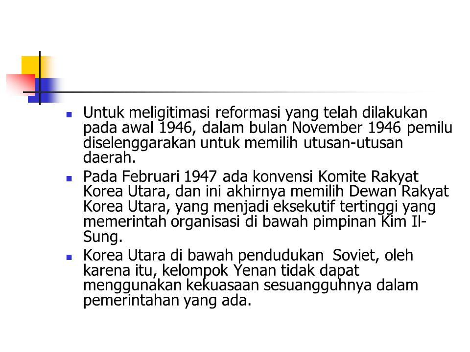 Untuk meligitimasi reformasi yang telah dilakukan pada awal 1946, dalam bulan November 1946 pemilu diselenggarakan untuk memilih utusan-utusan daerah.
