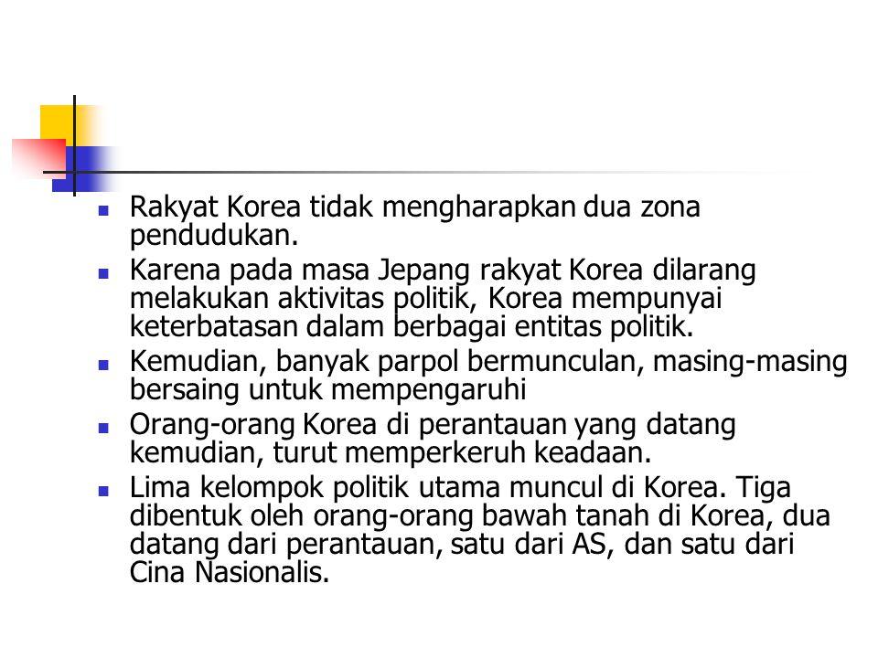 Rakyat Korea tidak mengharapkan dua zona pendudukan.