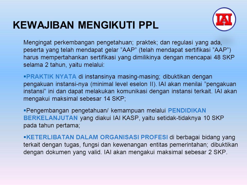 "KEWAJIBAN MENGIKUTI PPL Mengingat perkembangan pengetahuan; praktek; dan regulasi yang ada, peserta yang telah mendapat gelar ""AAP"" (telah mendapat se"