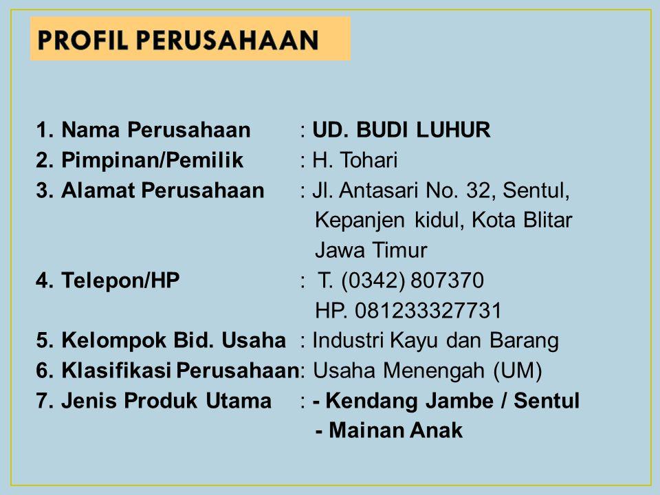 1.Nama Perusahaan: UD.BUDI LUHUR 2.Pimpinan/Pemilik: H.