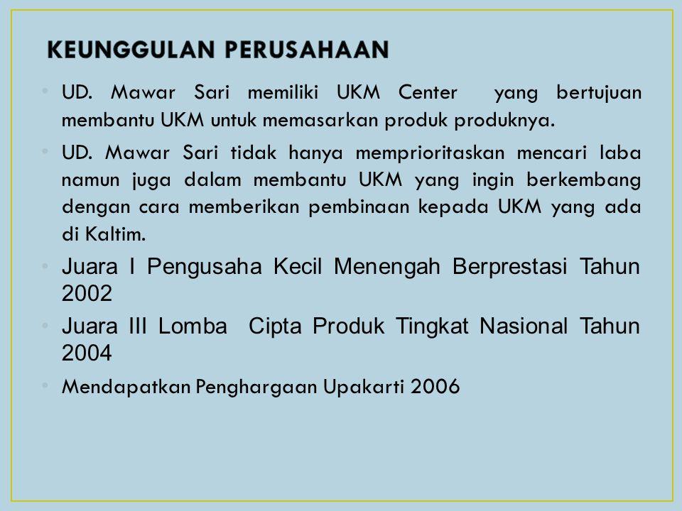 UD. Mawar Sari memiliki UKM Center yang bertujuan membantu UKM untuk memasarkan produk produknya. UD. Mawar Sari tidak hanya memprioritaskan mencari l
