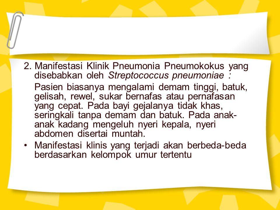2. Manifestasi Klinik Pneumonia Pneumokokus yang disebabkan oleh Streptococcus pneumoniae : Pasien biasanya mengalami demam tinggi, batuk, gelisah, re