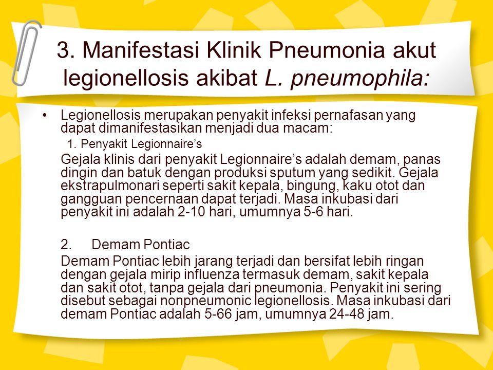 3. Manifestasi Klinik Pneumonia akut legionellosis akibat L. pneumophila: Legionellosis merupakan penyakit infeksi pernafasan yang dapat dimanifestasi