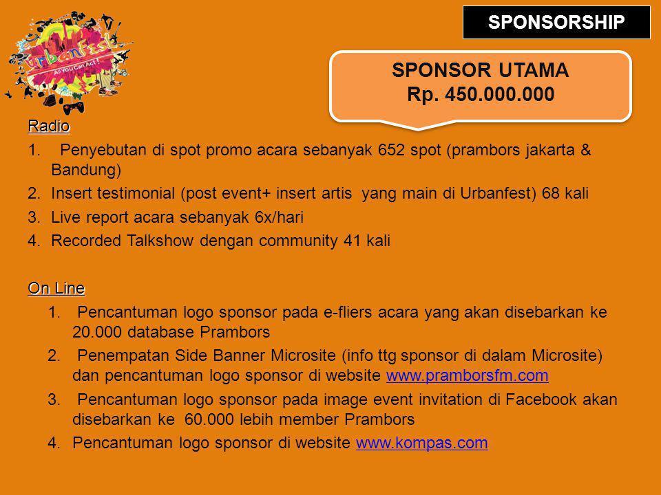 Radio 1. Penyebutan di spot promo acara sebanyak 652 spot (prambors jakarta & Bandung) 2.Insert testimonial (post event+ insert artis yang main di Urb