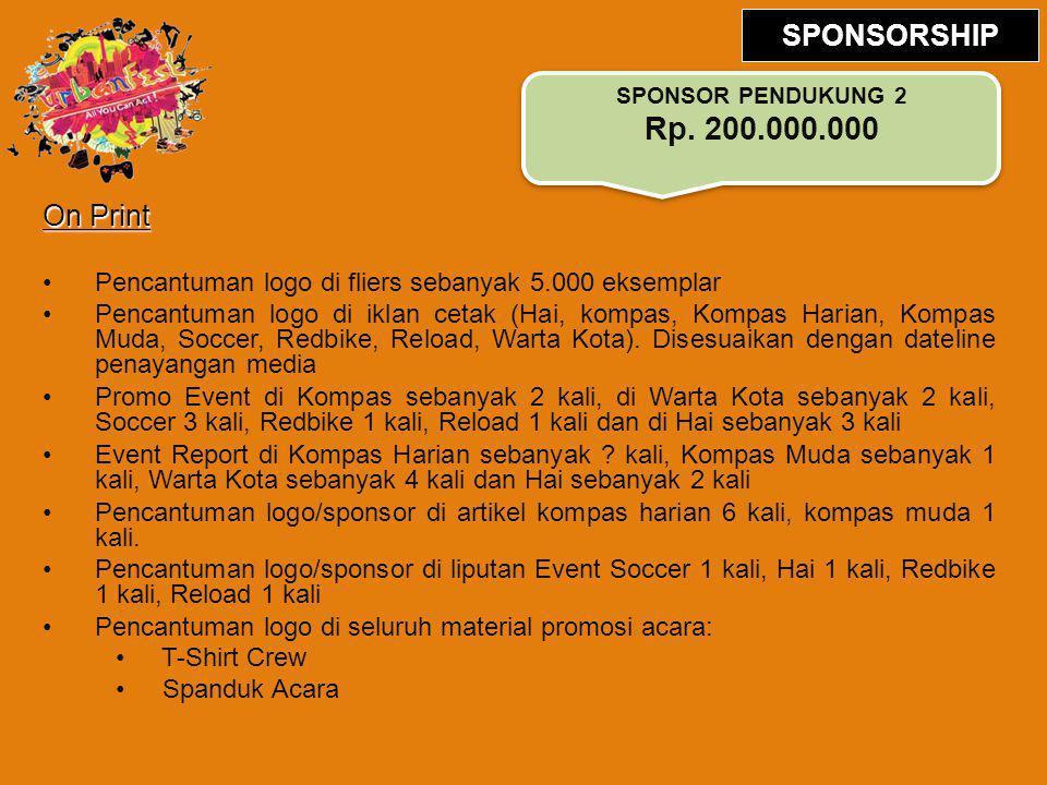 On Print Pencantuman logo di fliers sebanyak 5.000 eksemplar Pencantuman logo di iklan cetak (Hai, kompas, Kompas Harian, Kompas Muda, Soccer, Redbike, Reload, Warta Kota).