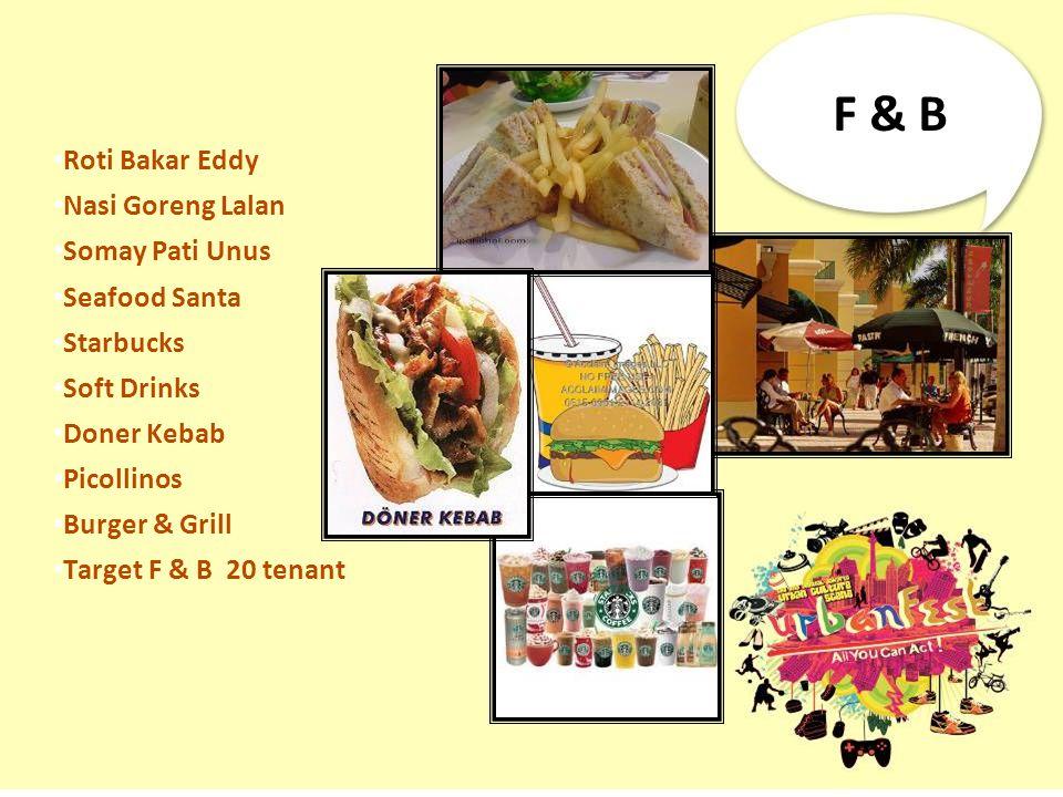F & B Roti Bakar Eddy Nasi Goreng Lalan Somay Pati Unus Seafood Santa Starbucks Soft Drinks Doner Kebab Picollinos Burger & Grill Target F & B 20 tena
