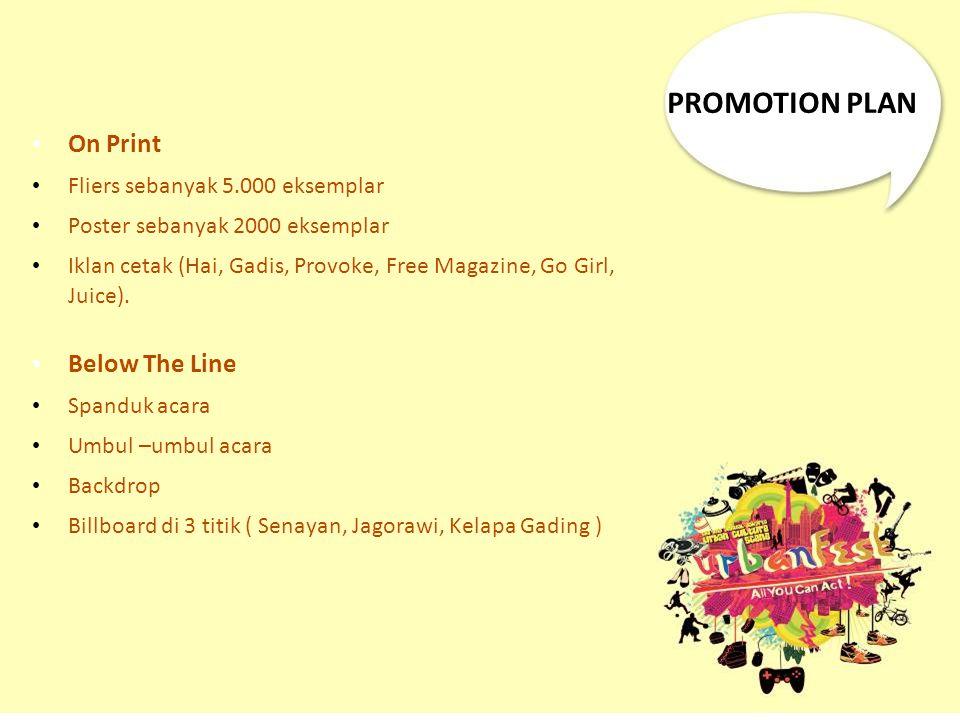 On Print Fliers sebanyak 5.000 eksemplar Poster sebanyak 2000 eksemplar Iklan cetak (Hai, Gadis, Provoke, Free Magazine, Go Girl, Juice). Below The Li