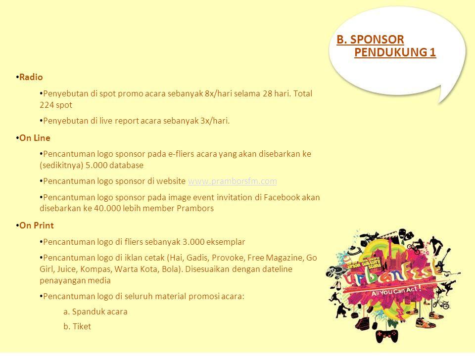 B. SPONSOR PENDUKUNG 1 Radio Penyebutan di spot promo acara sebanyak 8x/hari selama 28 hari. Total 224 spot Penyebutan di live report acara sebanyak 3