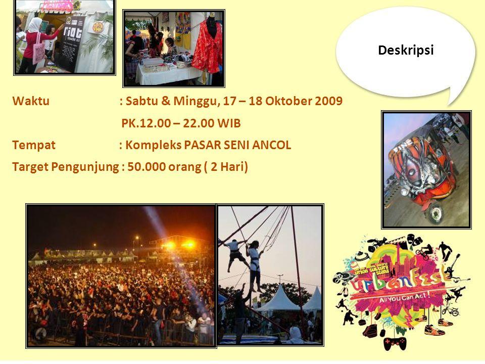 Deskripsi Waktu : Sabtu & Minggu, 17 – 18 Oktober 2009 PK.12.00 – 22.00 WIB Tempat : Kompleks PASAR SENI ANCOL Target Pengunjung : 50.000 orang ( 2 Ha
