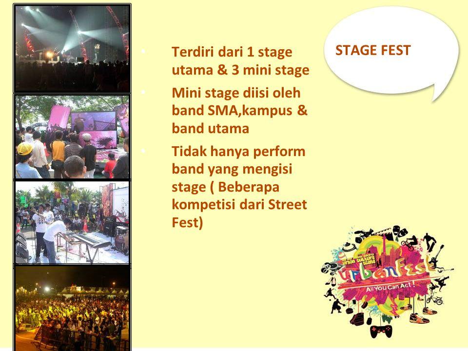 STAGE FEST Terdiri dari 1 stage utama & 3 mini stage Mini stage diisi oleh band SMA,kampus & band utama Tidak hanya perform band yang mengisi stage (