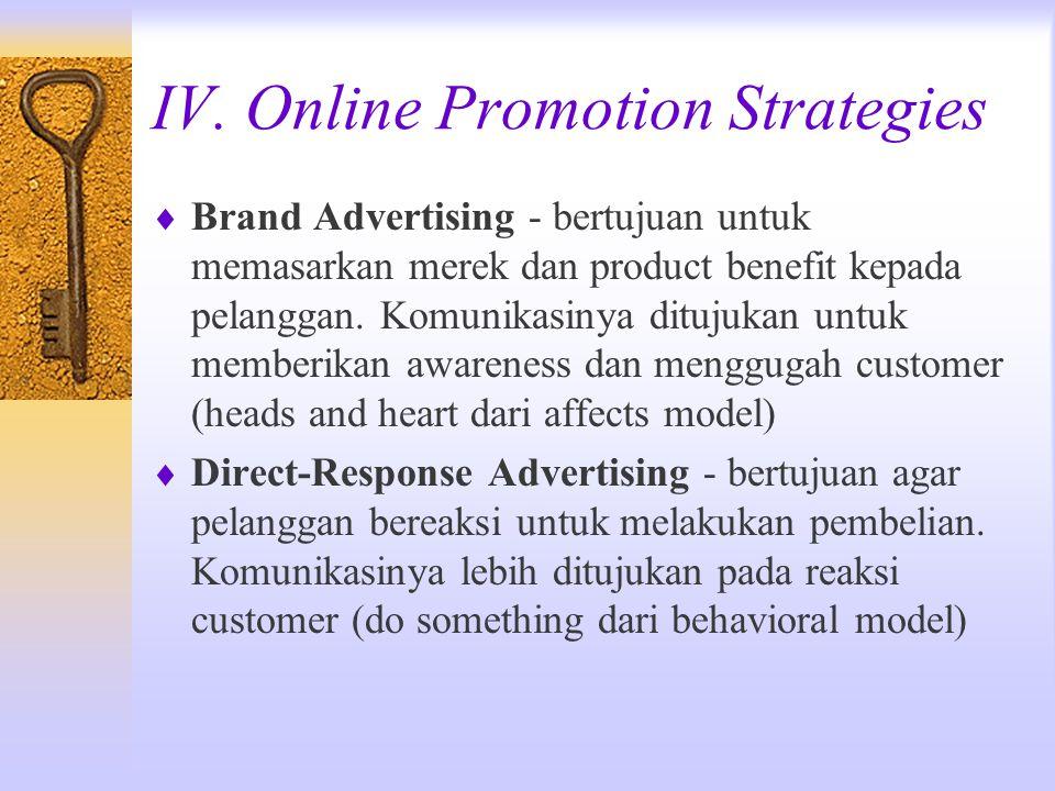 IV. Online Promotion Strategies  Brand Advertising - bertujuan untuk memasarkan merek dan product benefit kepada pelanggan. Komunikasinya ditujukan u
